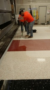 The Terrazzo Mechanic will thoroughly clean the floor and apply a terrazzo sealer.  This completes the installation process.